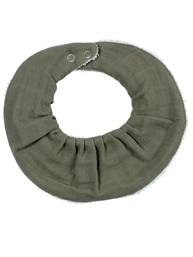 Fabelab - Organic Ruffle Bib with Terry Backing - Single Pack in Olive - Stylemykid.com