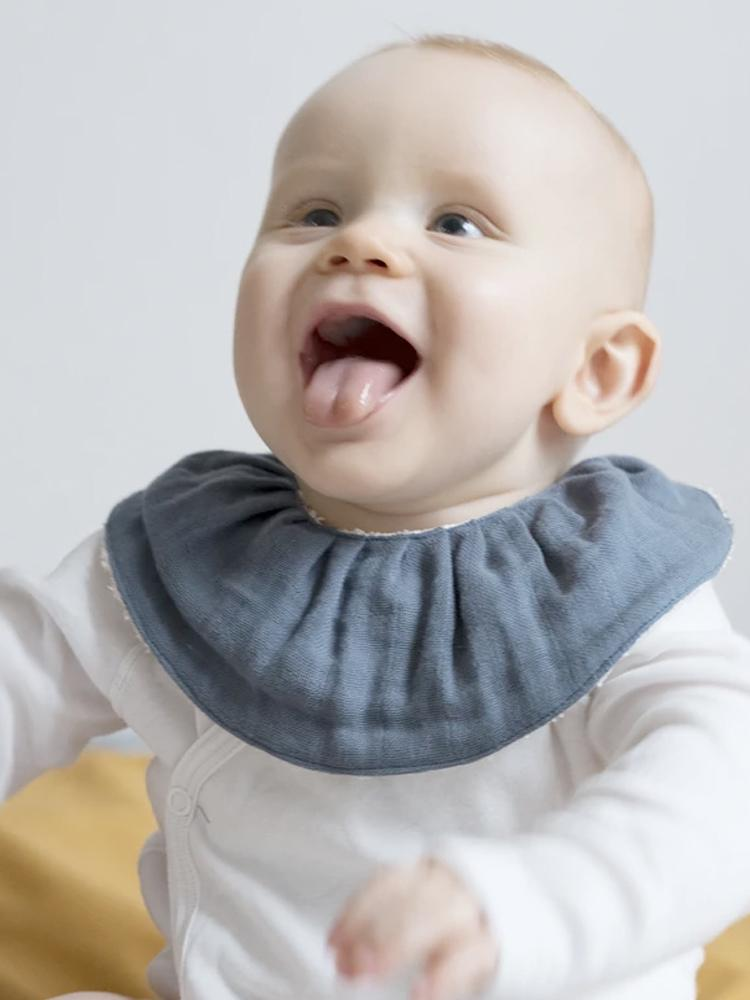 Fabelab - Organic Ruffle Bib - Single - Blue Spruce