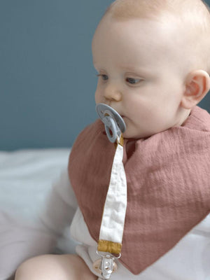 Fabelab - Organic Large Bandana Bib with Terry Backing - 3 Pack in Pinks - Berry, Clay and Mauve - Stylemykid.com