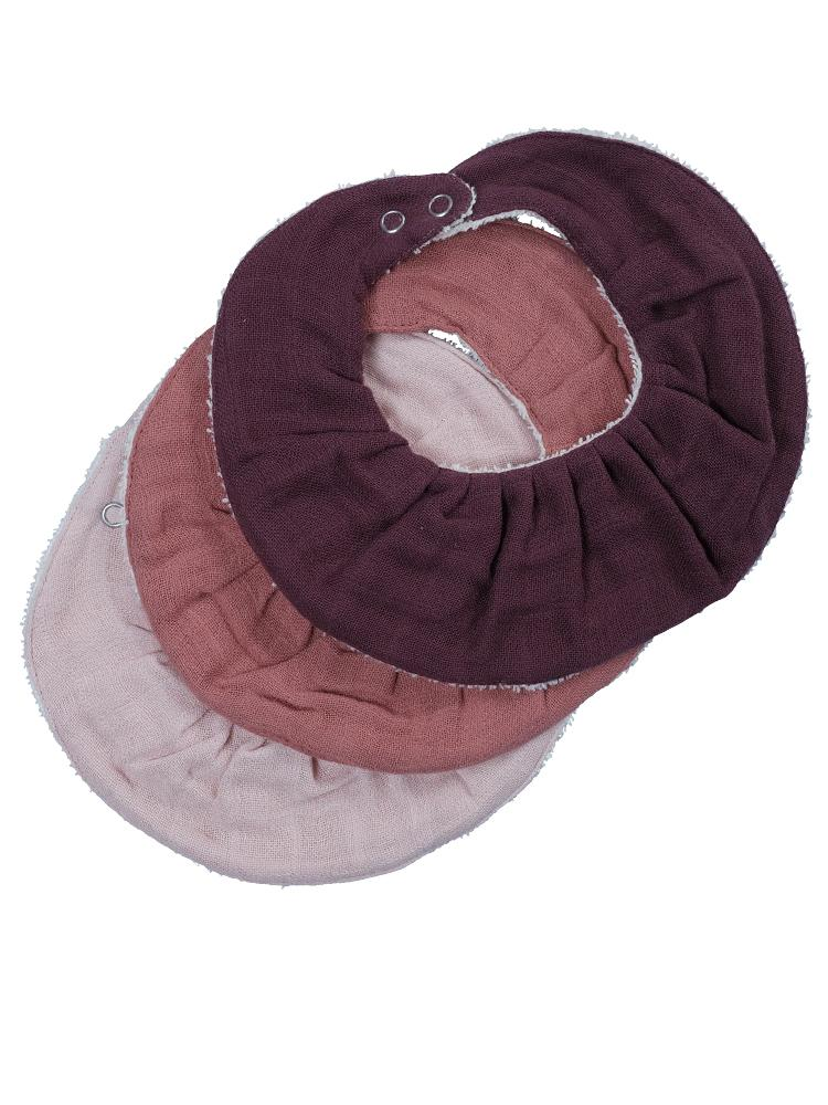 Fabelab - Organic Ruffle Bib with Terry Backing - 3 Pack in Berry & Pinks - Stylemykid.com