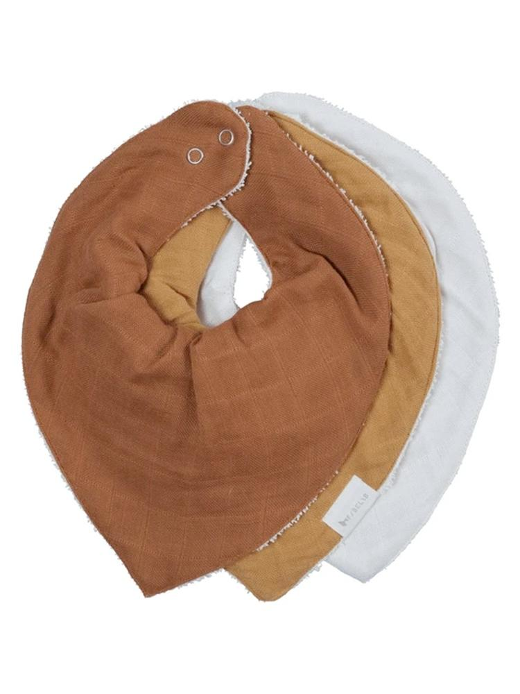 Fabelab - Organic Bandana Bib with Terry Backing - 3 Pack in Wood, Tan & White - Stylemykid.com