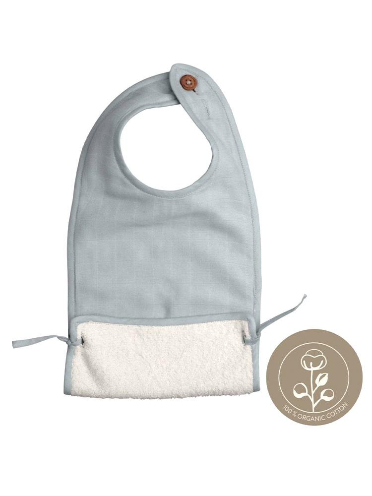 Fabelab - Organic Large Feeding Pocket Bib with Terry Backing - Foggy Blue