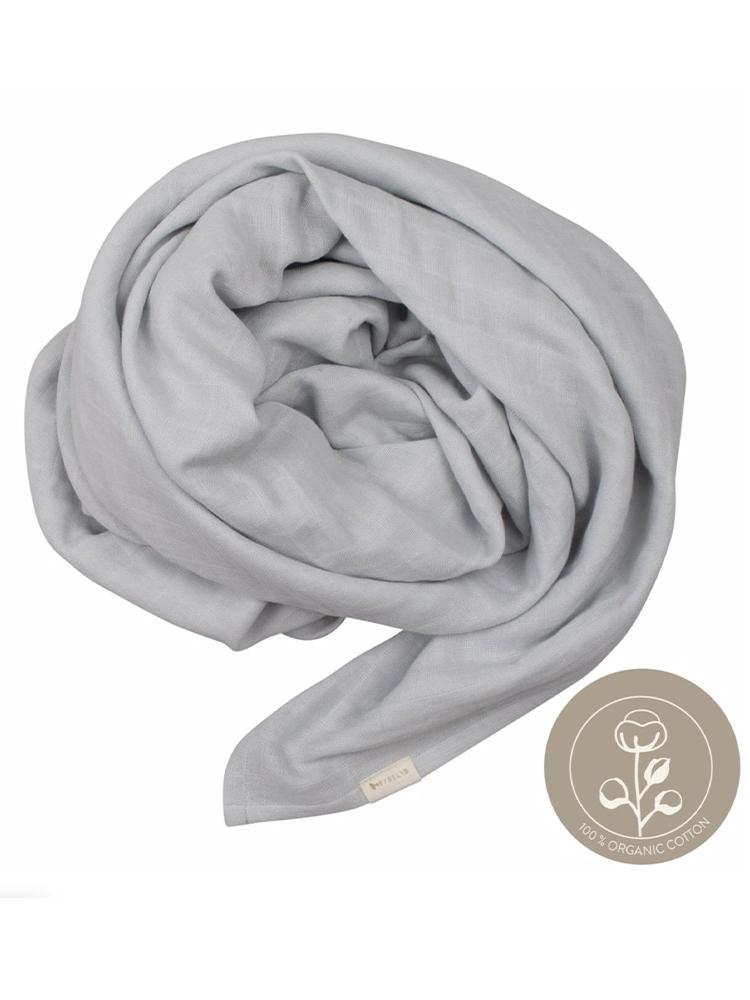 Fabelab - Icy Grey Extra Large 1.2m Multiuse Swaddle Wrap - 100% Organic Baby Swaddle