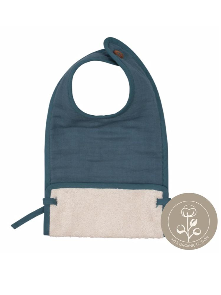 Fabelab - Organic Large Feeding Pocket Bib with Terry Backing - Blue Spruce
