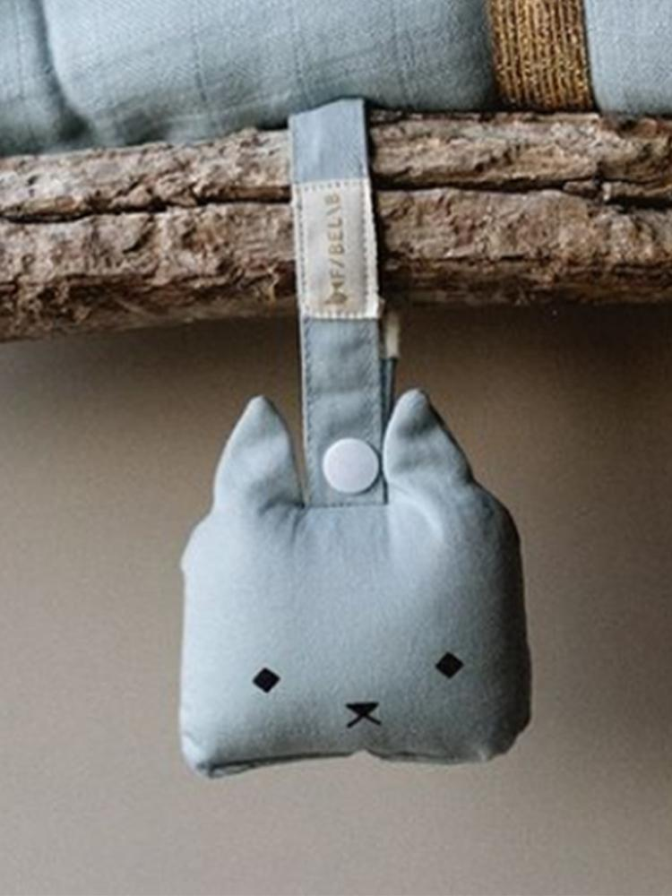 Fabelab - Organic Animal Rattle - Cat - Foggy Blue - Stylemykid.com