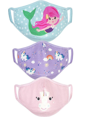 Zoocchini - Reusable Organic Kids Face Masks - 3 Pack Unicorn & Mermaid - Stylemykid.com