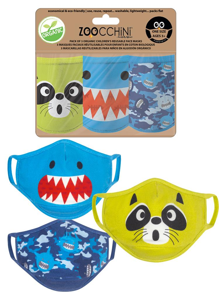 Zoocchini - Reusable Organic Kids Face Masks - 3 Pack - Sherman the Shark - Stylemykid.com
