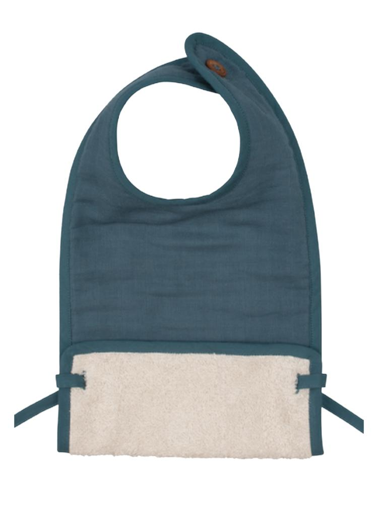 Fabelab - Organic Large Feeding Bib with Terry Backing - Blue Spruce - Stylemykid.com