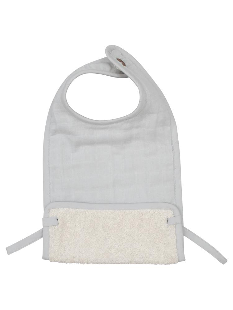 Fabelab - Organic Large Feeding Bib with Terry Backing - Ice Grey - Stylemykid.com