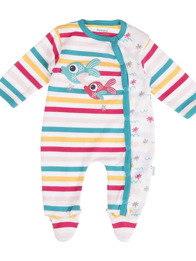Babybol - Rainbow Fish and Stripes Baby Sleepsuit - Stylemykid.com
