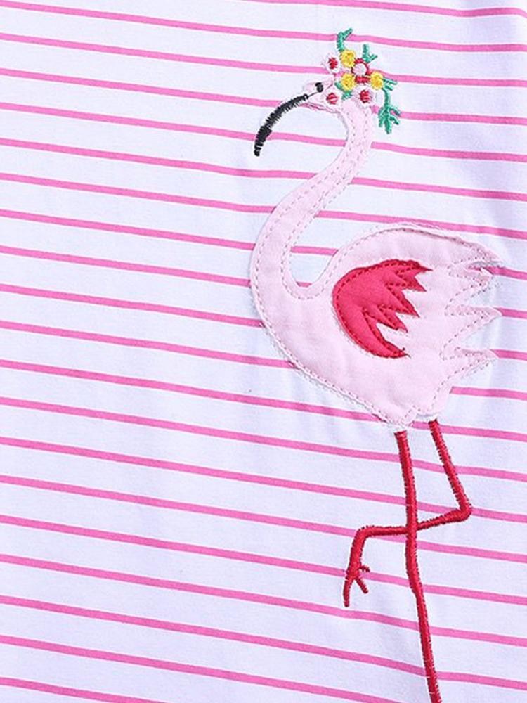 Fantastic Flamingos - Girls Short Sleeve Striped Pink & White Dress - Stylemykid.com