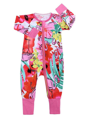 Flowery Flamingos Baby Zip Sleepsuit with Hand & Feet Cuffs - Stylemykid.com