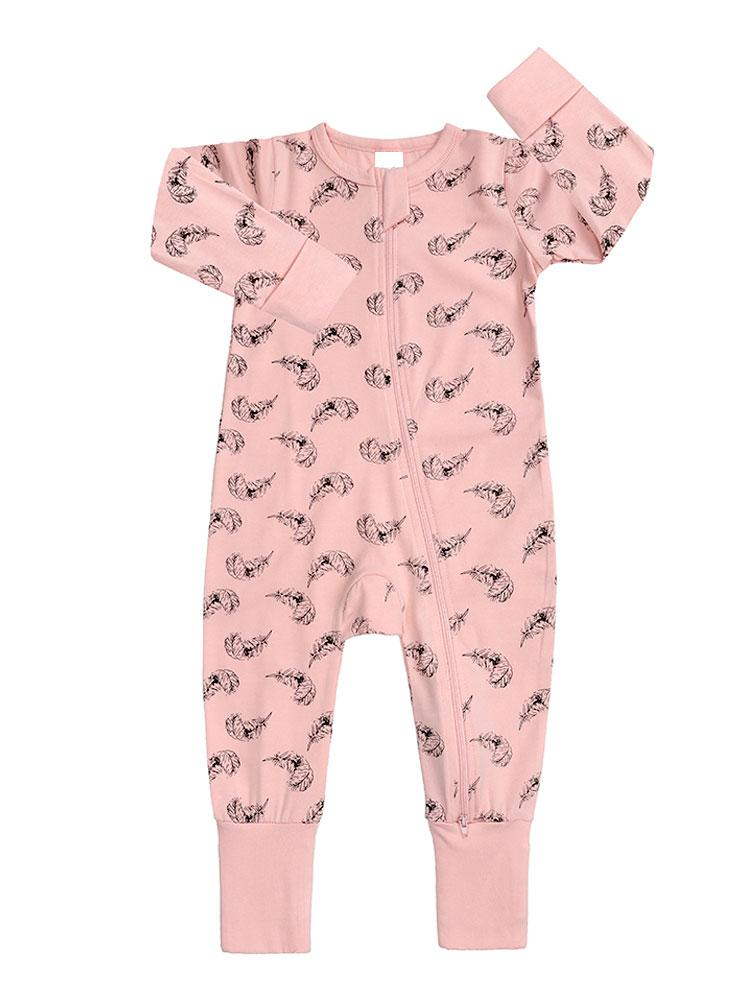 Floating Feathers - Pink Baby Zip Sleepsuit with Hand & Feet Cuffs - NEW DESIGN - Stylemykid.com