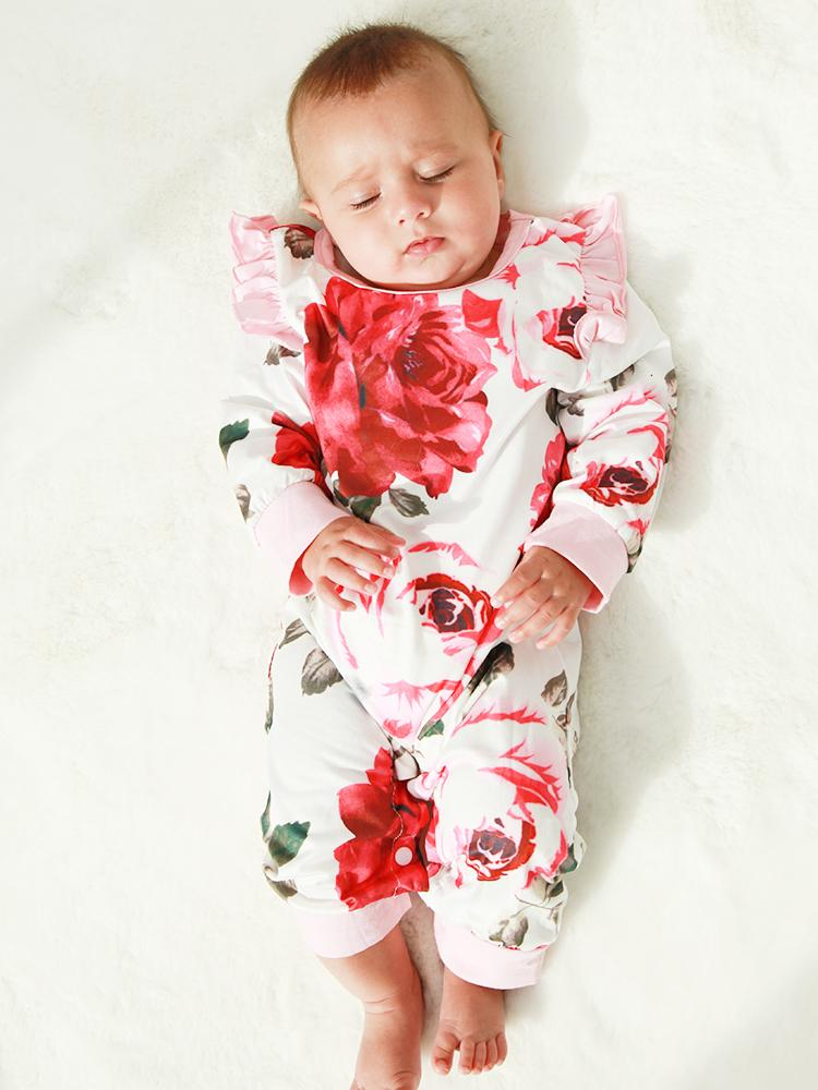 White and Pink Flowers Floral Printed Playsuit for Baby Girl - Stylemykid.com