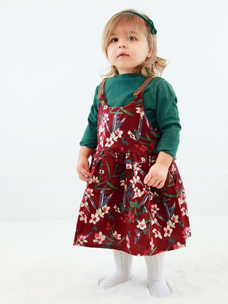 Floral Pinafore Girls Dress and Ribbed Long Sleeve Top - Berry Red and Green - Stylemykid.com