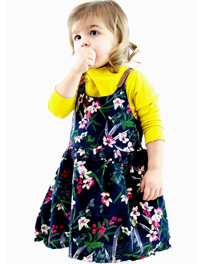 Floral Pinafore Girls Dress and Ribbed long sleeve top  - Navy and Yellow - Stylemykid.com
