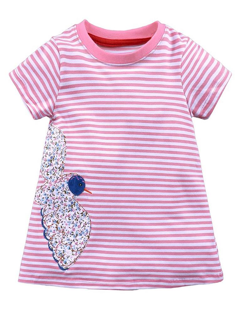 Floral Bird - Girls Short Sleeve Striped Pink & White Dress - Stylemykid.com