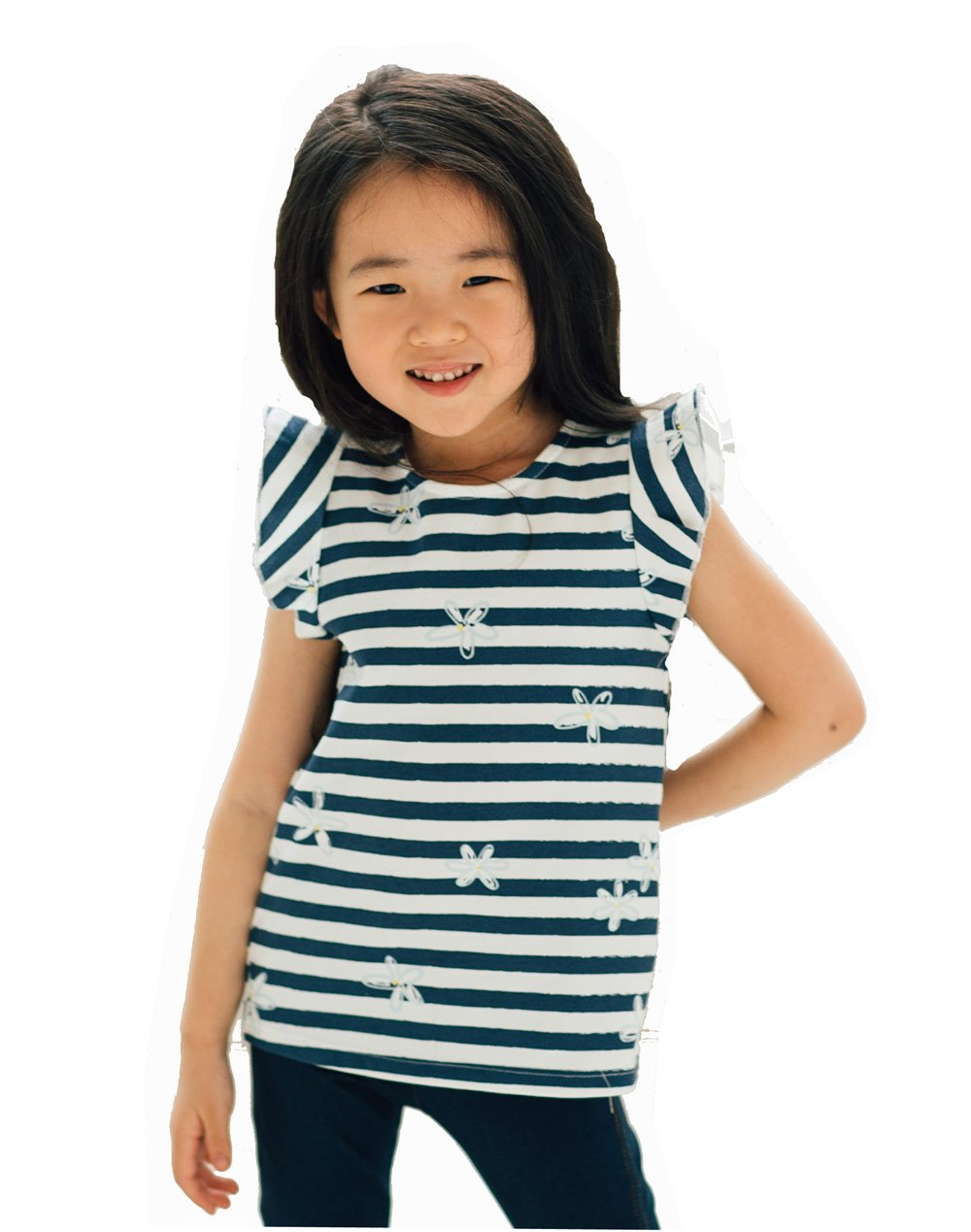 Artie - Flower Frills Girls Navy and White Striped Top - Stylemykid.com