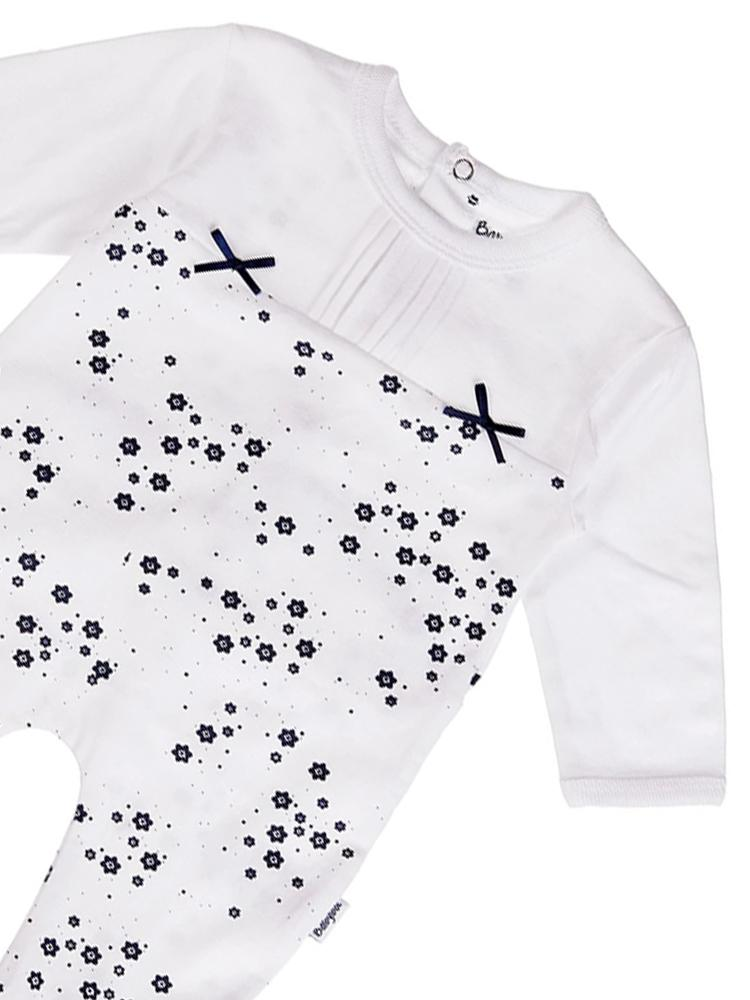 Babybol - Flowers and Bows Baby Footed Sleepsuit - Stylemykid.com