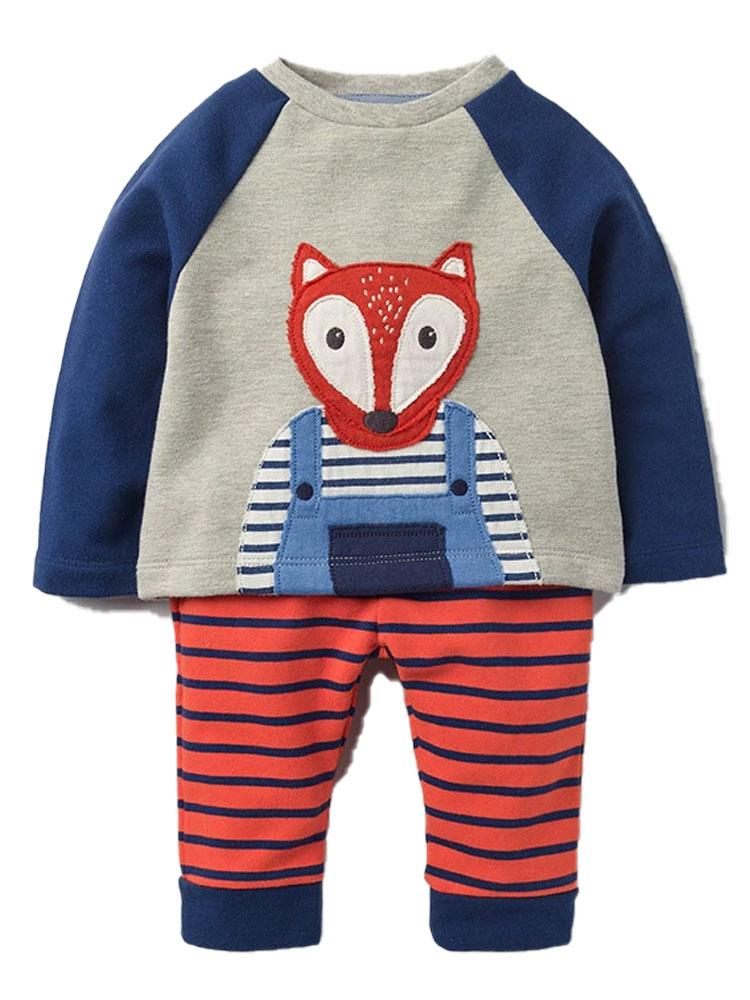 Fox in Stripes Long sleeve fox picture top and stripy leggings set - red, blue and grey - Stylemykid.com