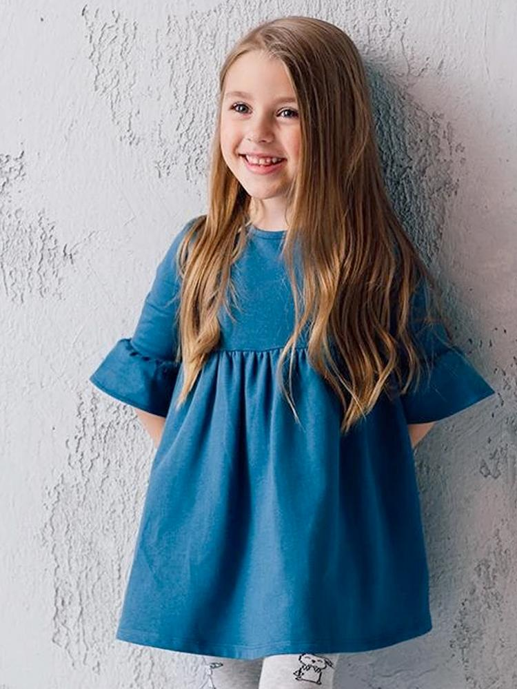 Artie - French Terry Frill Tunic Dress - Girls Super Soft Blue Dress - Stylemykid.com