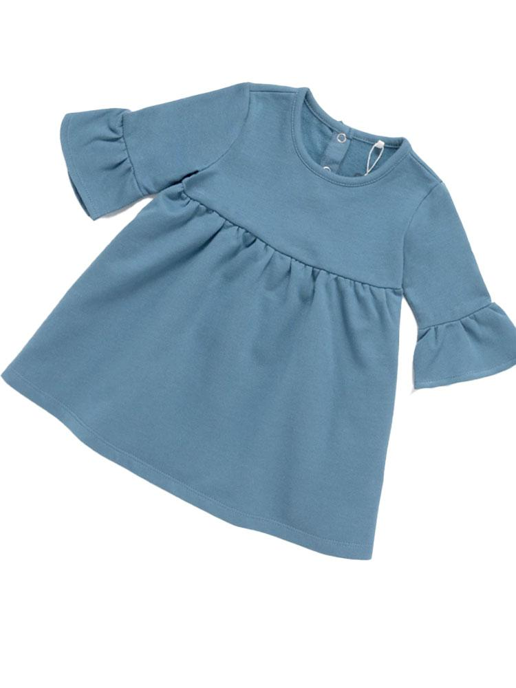 French Terry Frill Tunic Dress - Girls Super Soft Blue Dress - 6 months to 4 years - Stylemykid.com