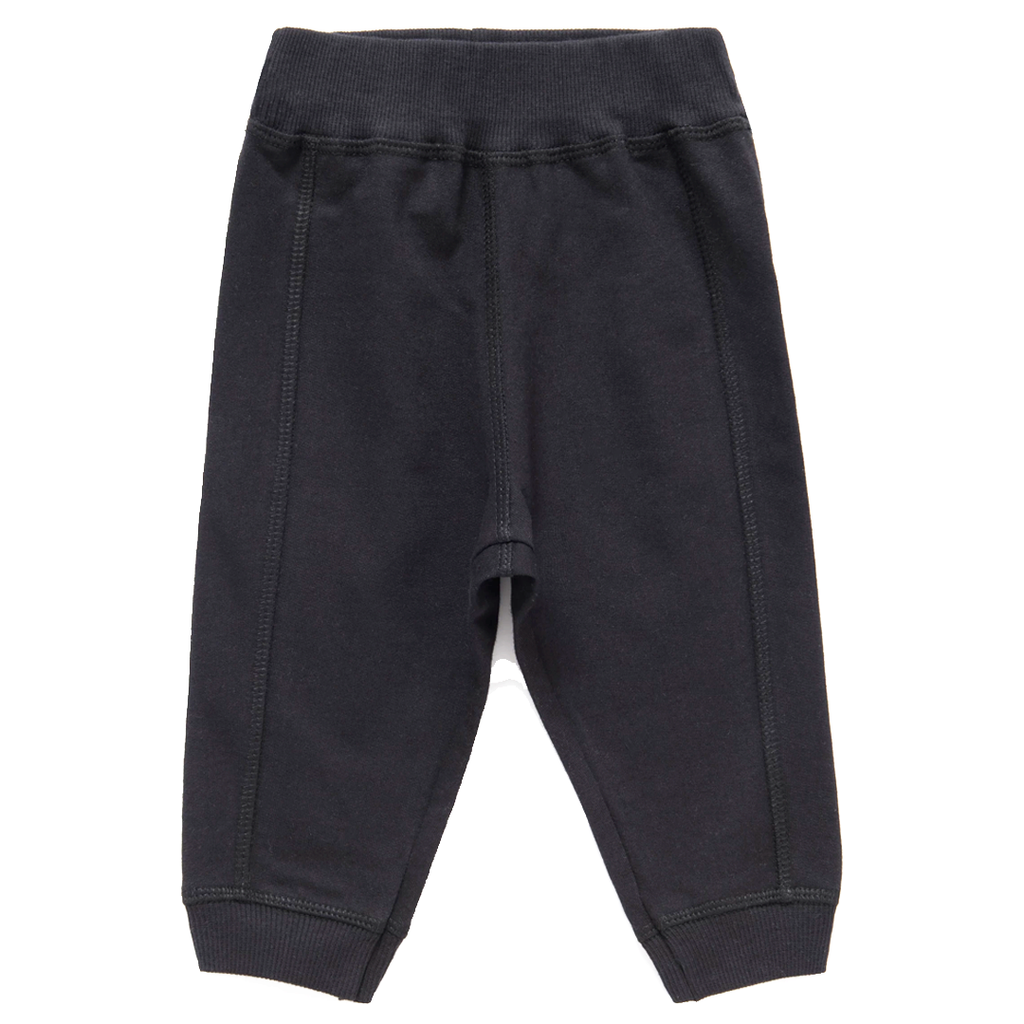 French Terry Black Joggers - Unisex 3 months to 4 years - Stylemykid.com