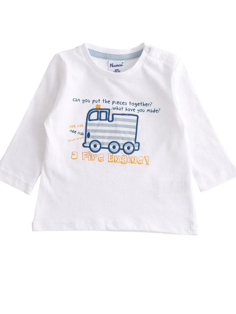 Friendly Fire Engine - Long Sleeved White Boys Top with Fire Engine Design - 0 to 24 months - Stylemykid.com