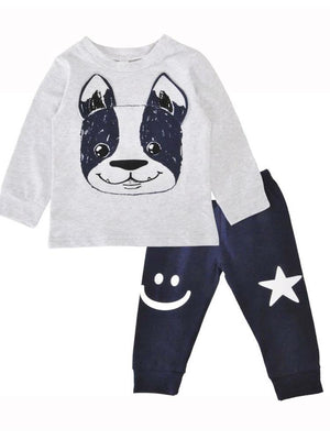 Friendly Frenchie - Grey top with Dog Design and Dark Matching Bottoms - Stylemykid.com