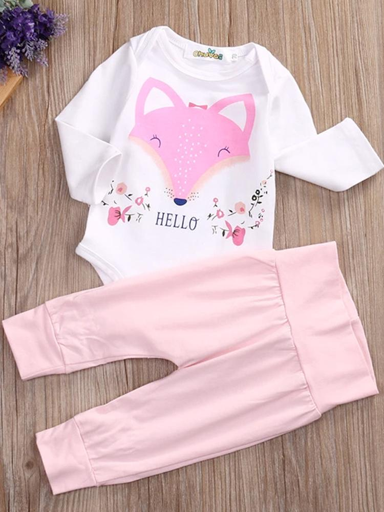 Friendly Miss Fox Childrens Bodysuit and Leggings set white and pink - Stylemykid.com