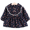 Frill Edge Floral Girls Dress - Midnight Blue with cute pink ribbon bows - Stylemykid.com