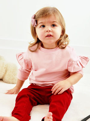 Artie - Girls French Terry Pink Frill Long Sleeve Top - Stylemykid.com