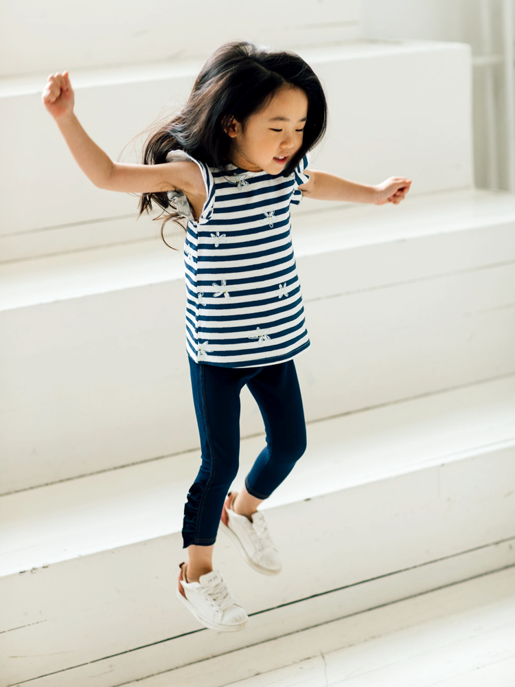 Artie - Girls Denim Blue Leggings with Frill Detail - Stylemykid.com