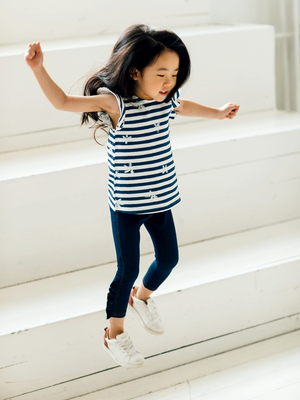 Artie - Frills Girls Denim Blue Leggings with Frill Detail - Stylemykid.com