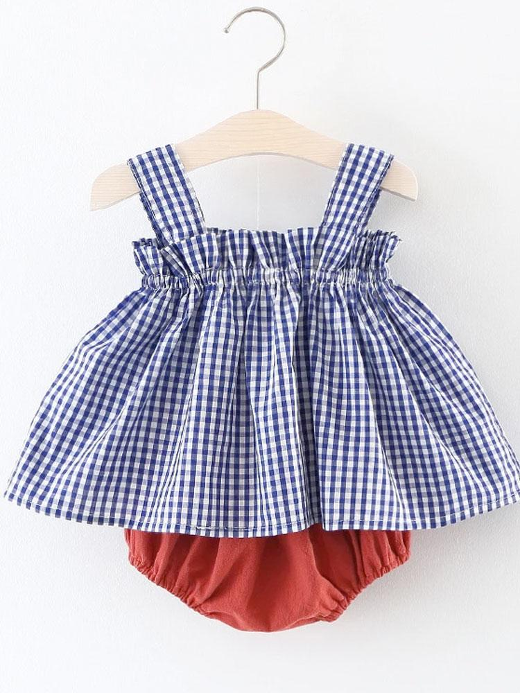 Gingham Baby Bloomer Set - Blue & White Top with Red Bloomers - Stylemykid.com