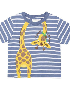 Giraffe 'n' Round - Blue and White Striped T-Shirt with Giraffe - Stylemykid.com