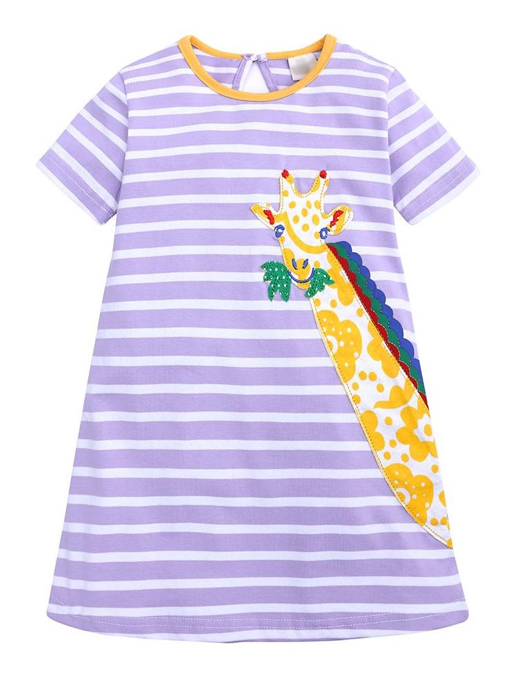 Peeking Giraffe Purple Striped Short Sleeve Girls Dress - Stylemykid.com