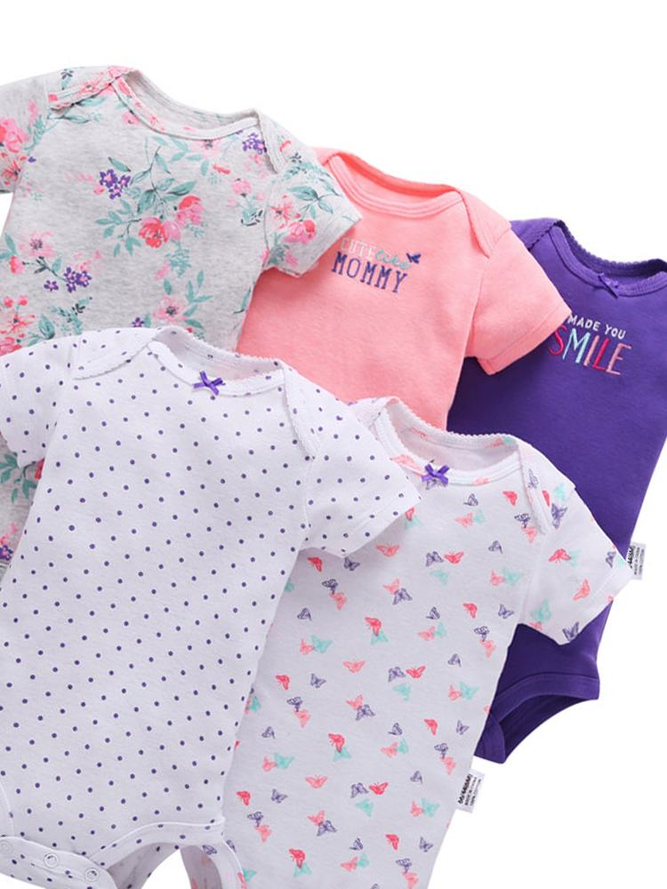 Girls 5 Sleepsuit Pack - 100% Cotton - Butterflies and Flowers - Stylemykid.com