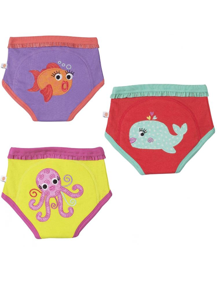 Zoocchini - 100% Organic Cotton Girls Potty Training Pants (3 pack) - Ocean Friends - Stylemykid.com