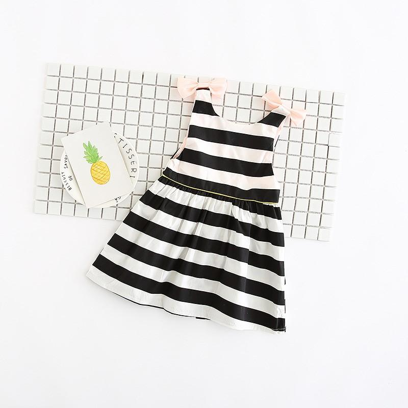 Dip Back Stripes & Bows Dress - Girls Black and White Striped Dress - 1 - 3 years - Stylemykid.com