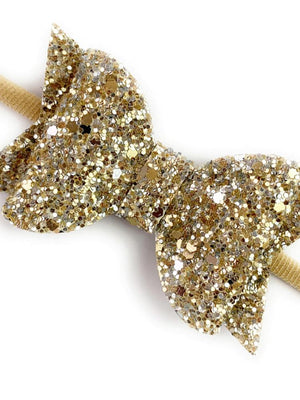 Baby Wisp - Courtney Bow Headband - Gold Glitter - Stylemykid.com