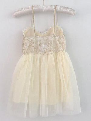 Gold Sequin and Netting Girls Party Dress - Stylemykid.com