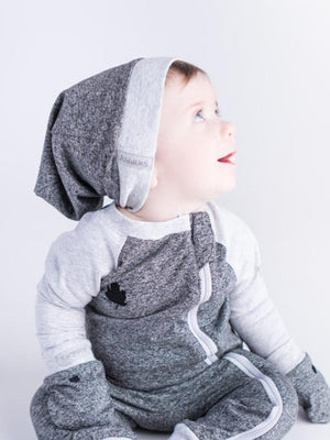 Juddlies - Organic Graphite Grey/Black Slouchy Baby Hats - Raglan Collection - Pack of 2 - Stylemykid.com