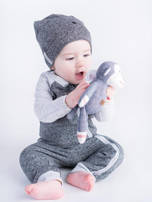 Juddlies - Organic Graphite Grey/Black Slouchy Baby Hats - Raglan Collection - Pack of 2