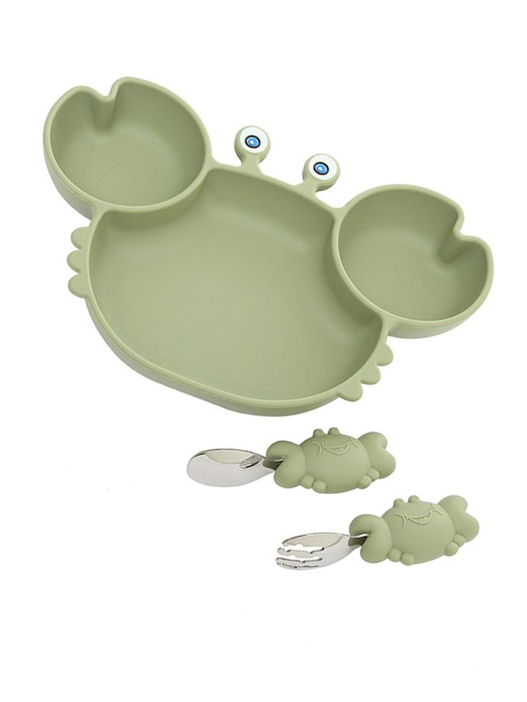 GREEN CRAB SET- 3 Piece Set Silicone Baby Baby Feeding Bowl With Spoon and Fork - Stylemykid.com