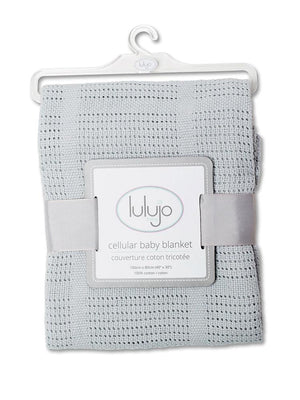 Lulujo - Grey Cellular Baby Blanket - 100% Cotton - Stylemykid.com