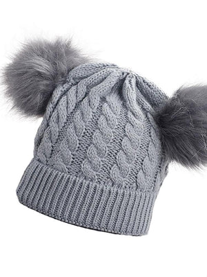 Dove Grey Double Bobble Woollen Pom Pom Kids Hat - 0 -3 years - Stylemykid.com