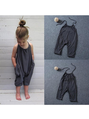 Grey Halterneck Girls Sleeveless Playsuit with Pockets - Stylemykid.com