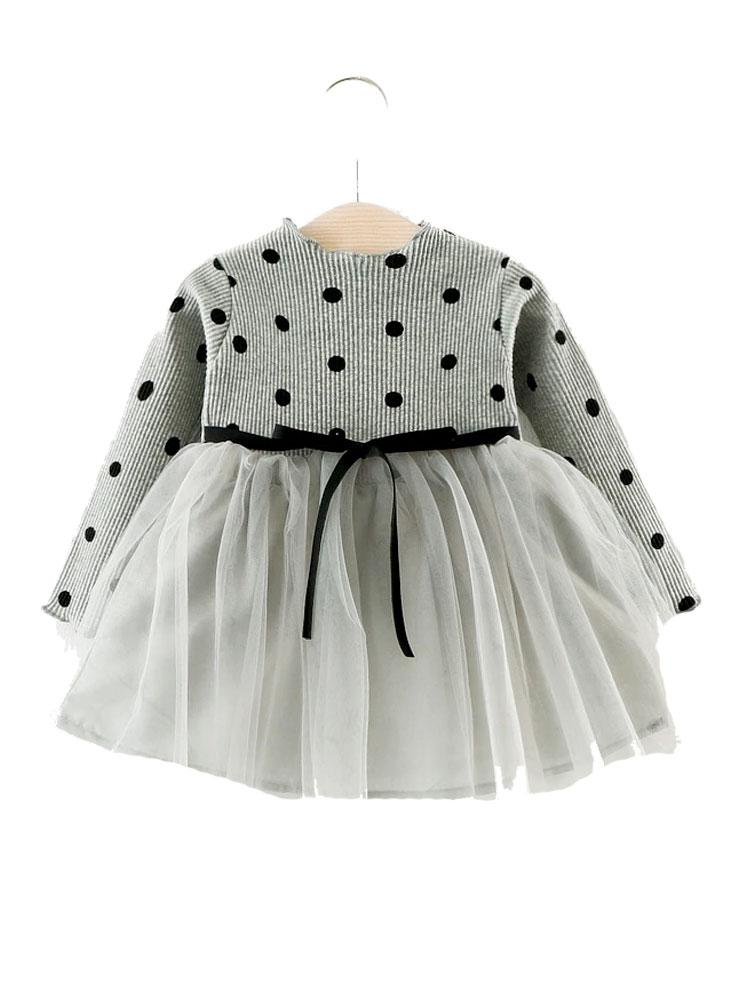 Grey Girls Polka Dot Party Dress - Stylemykid.com