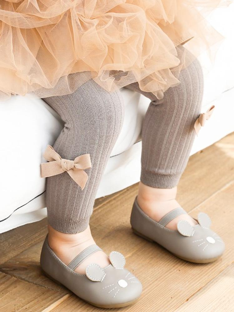 Grey Ribbon Bow Ribbed Footless Girls Tights/ Leggings - Stylemykid.com